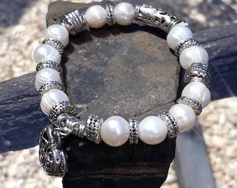 Tibetan Silver and Pearl Bracelet