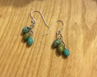 Handmade Silver Turquoise Drop Earrings
