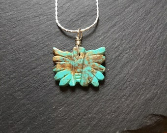 Zuni Butterfly Pendant, Turquoise Butterfly