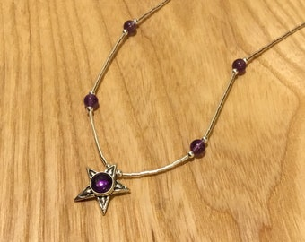 Silver Amethyst Star Necklace