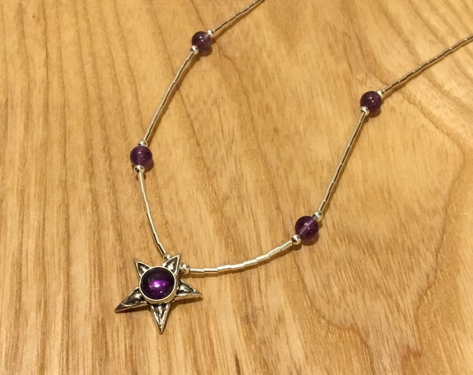 Silver Amethyst Star Necklace