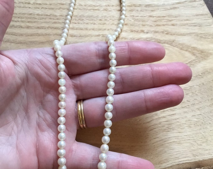 Cultured Pearl Graduated Necklace With 9ct Clasp, Vintage