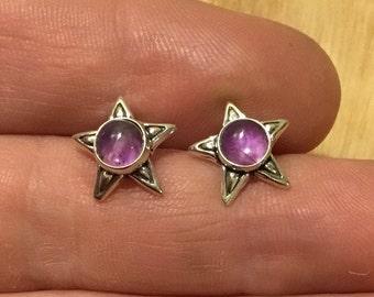 Silver Amethyst Star Earrings
