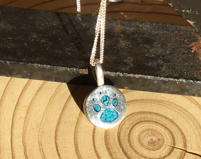 Sterling Silver Turquoise Paw Print Pendant and Chain