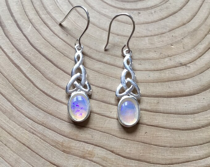 Sterling Silver Opal Drop Earrings, Natural Opal