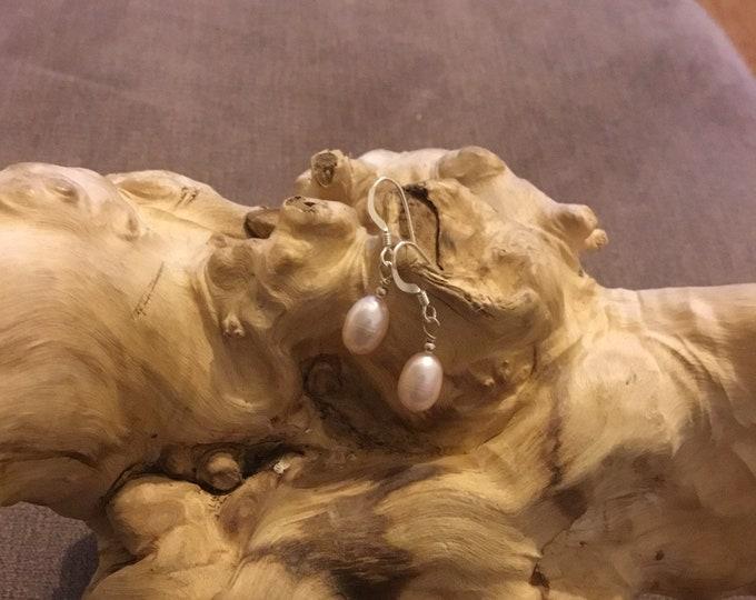 Sterling Silver Fresh Water Pearl Drop Earrings, Pink
