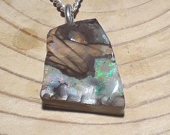 Boulder Opal and Silver Pendant, Handmade