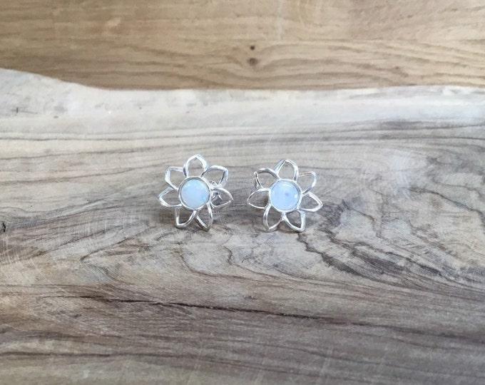 Sterling Silver Opal Stud Earrings, Natural Opal