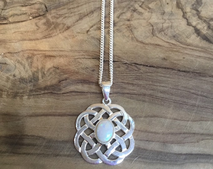 Sterling Silver Opal Celtic Pendant and Chain, Large