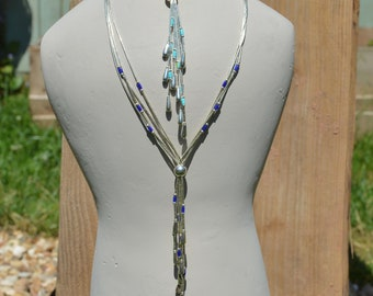 Layering Necklace, Silver and Kingman Turquoise Tassel