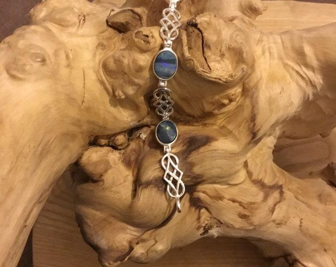 Sterling Silver Opal Doublet Bracelet, Australian Opals