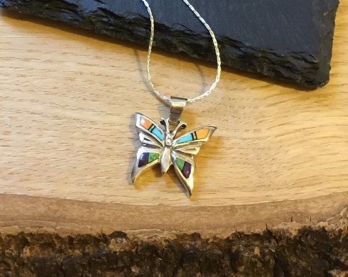 Sterling Silver Turquoise Opal and Agate Butterfly Pendant