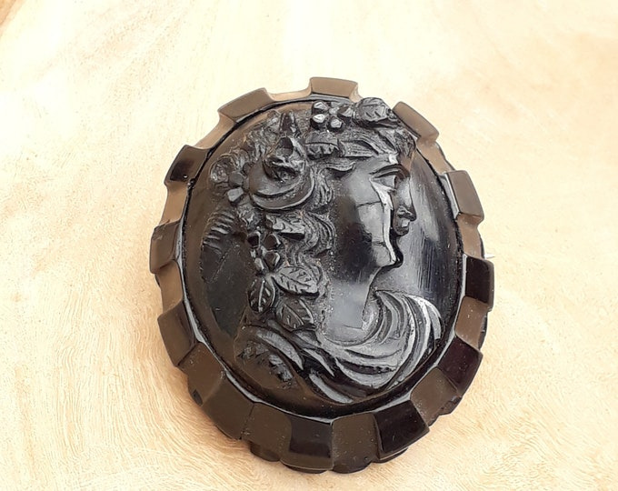 Antique Whitby Jet Mourning Cameo Brooch