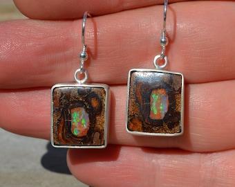 Large Silver Boulder Opal Earrings, Australian Opal