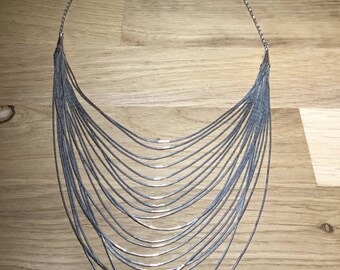 Liquid Silver Layered Necklace, Graduating