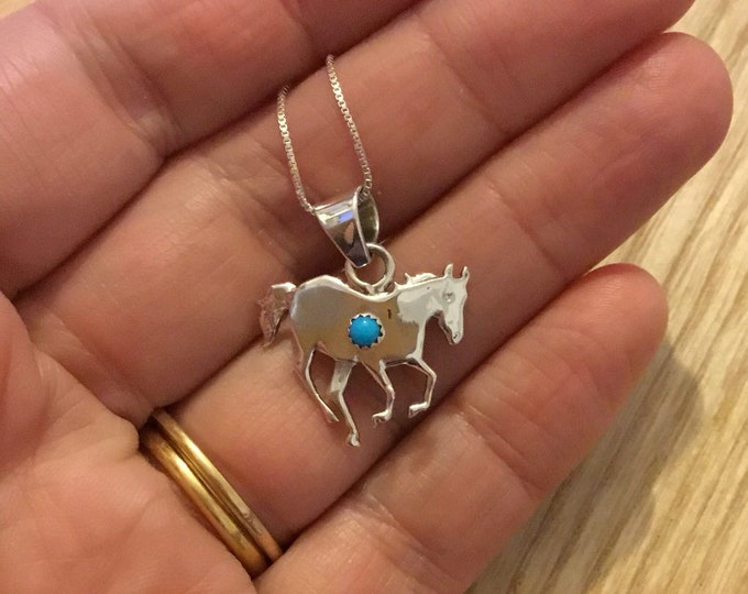 Sterling Silver Turquoise Horse Pendant and Chain