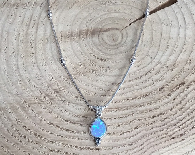 Sterling Silver Teardrop Lab Opal Necklace, Liquid Silver