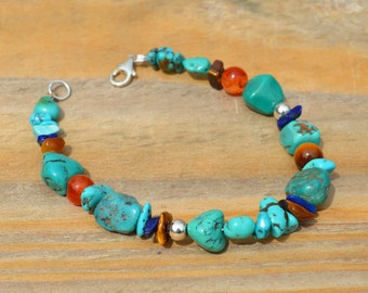 Kingman Turquoise Nuggets & Carnelian Bracelet