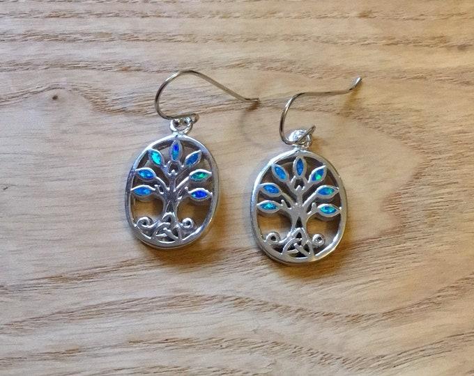 Sterling Silver Lab Opal Tree of Life Drop Earrings