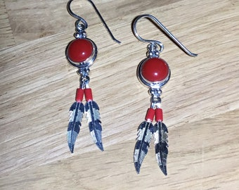 Round Silver and Coral Feather Drop Earrings