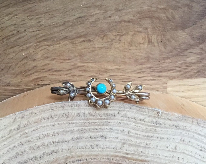 9ct Turquoise and Seed Pearl Brooch, Antique