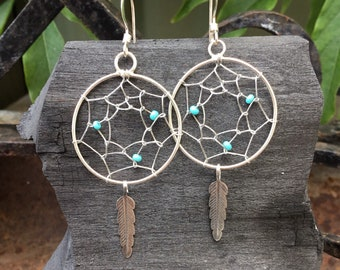 Turquoise Dream Catcher Earrings, Silver, Genuine Turquoise, Feather