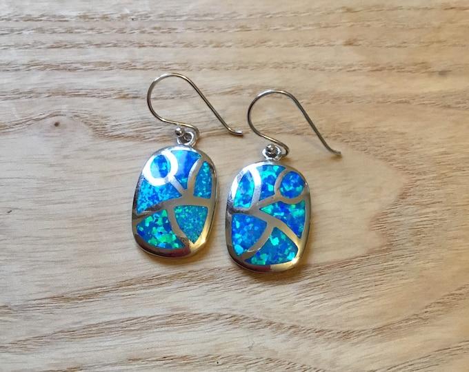 Sterling Silver Blue Lab Opal Inlaid Drop Earrings