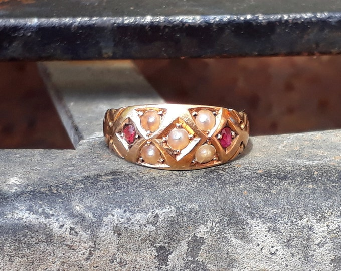 15ct Gold Ruby and Seed Pearl Ring, Antique, Chester