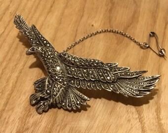Vintage Silver Marcasite Phoenix Brooch