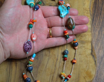 Turquoise Liquid Silver Necklace, Long Turquoise & Agate Necklace