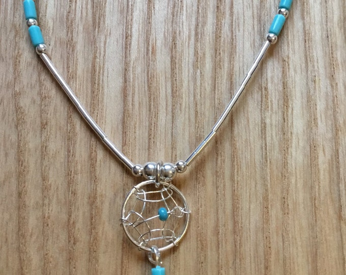Sterling Silver Navajo Feather Dream Catcher Necklace