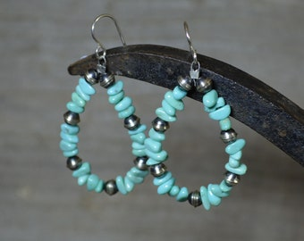 Silver and Kingman Turquoise Chip Earrings, Large Drops