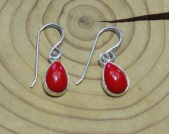 Silver Red Coral Teardrop Earrings