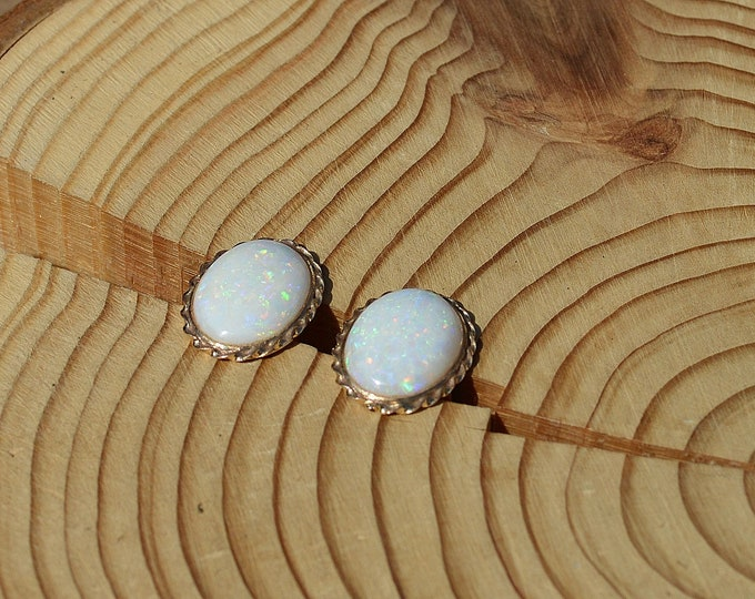 Large 9ct Gold Opal Earrings With Twisted Rope Design, Gold Opal Stud Earrings Large, Gold Opal Studs