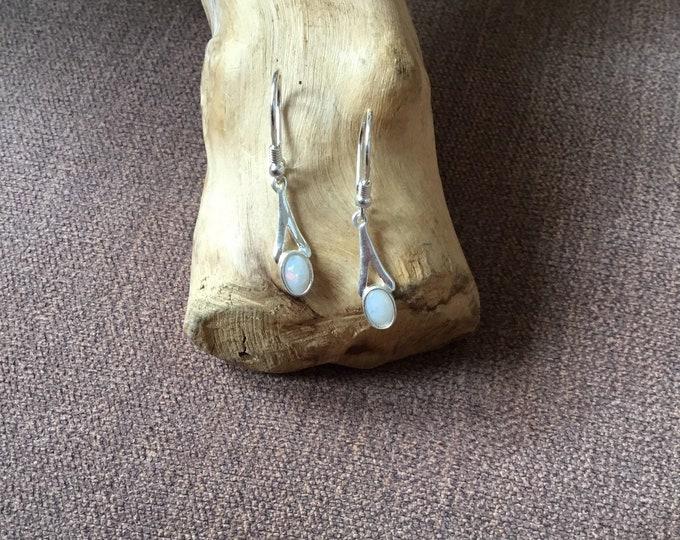 Sterling Silver Opal Drop Earrings, Natural Opal
