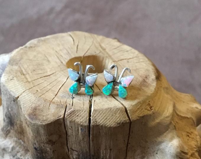 Sterling Silver Lab Opal Butterfly Stud Earrings