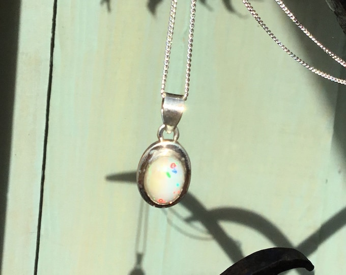 Sterling Silver Welo Opal Pendant and Curb Chain