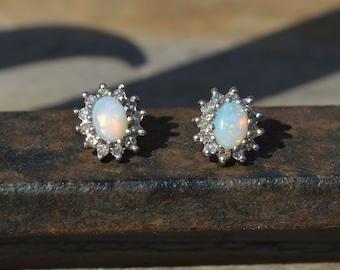 9ct Gold Opal and Diamond Cluster Earrings, Australian Opals