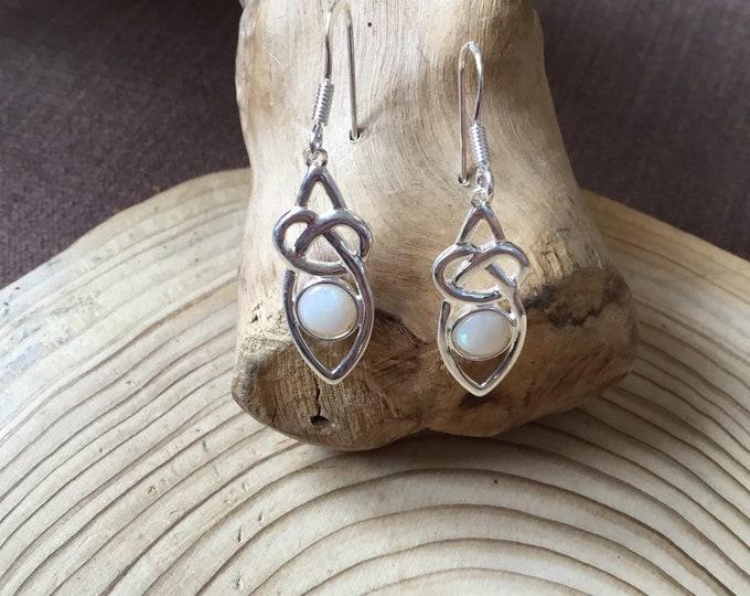 Sterling Silver Drop Earrings, Natural Opal