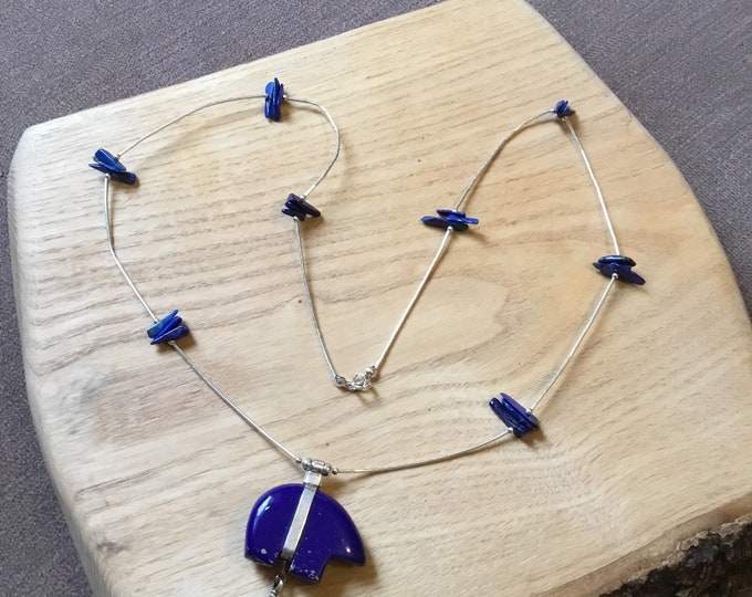 Sterling Silver Lapis Lazuli Fetish Necklace, Liquid Silver
