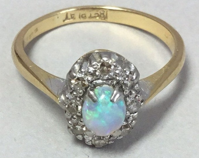 18ct Opal and Diamond Cluster Ring, Antique Opal Cluster Ring, Antique Opal, Platinum Diamond Ring