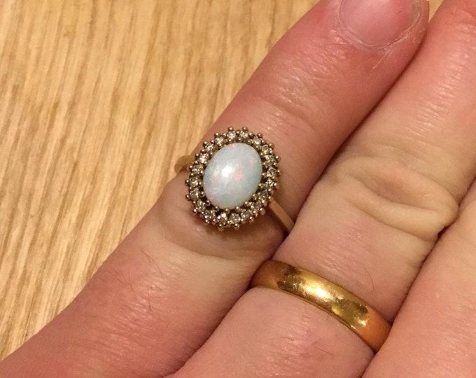 9ct Opal Diamond Cluster Ring