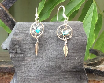 Silver Turquoise Dream Catcher Drops, Genuine Turquoise, Sterling Silver