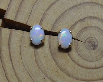 Handmade Oval Gold Opal Stud Earrings