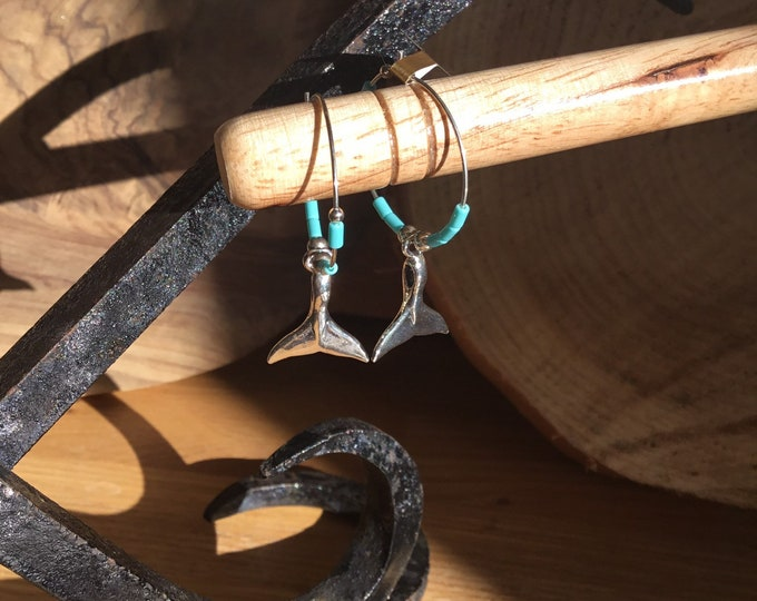 Sterling Silver and Navajo Turquoise Whale Tail Hoop Earrings
