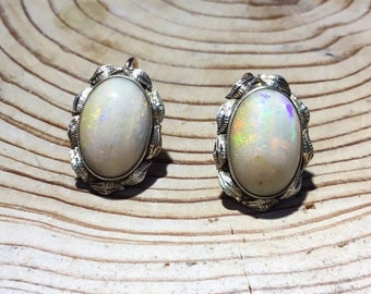 Antique Large 9ct Gold Opal Earrings
