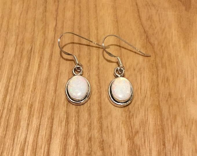 Sterling Silver Lab Opal Drop Earrings