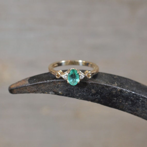 9ct Gold Emerald and Zircon Stacking Ring, Dainty