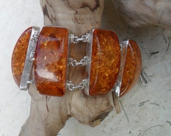 Vintage Sterling Silver and Baltic Amber Bracelet