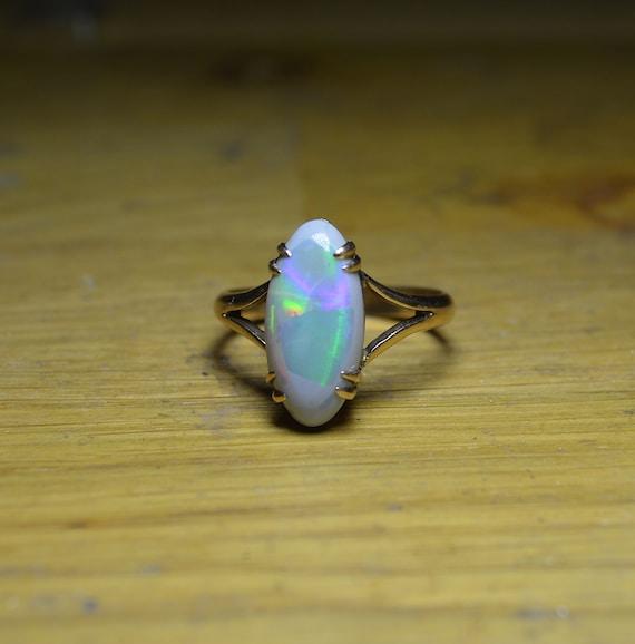 Antique 9ct Gold Black Opal Ring, Australian Opal